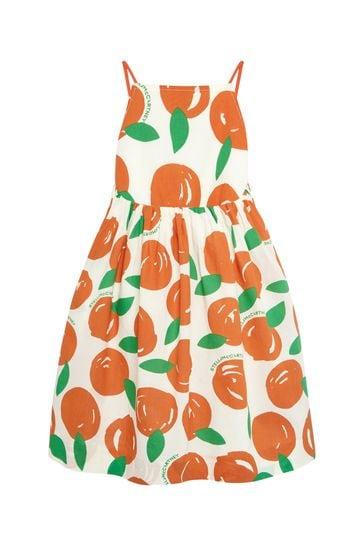 فستان قطن برتقاليبناتي