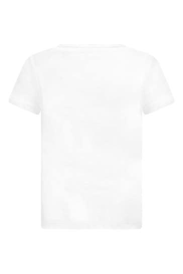 걸스 화이트 코튼 저지 로고 프린트 티셔츠