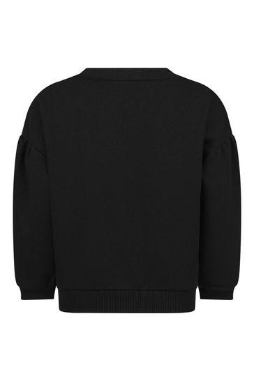 Girls Black Fleece Logo Sweater