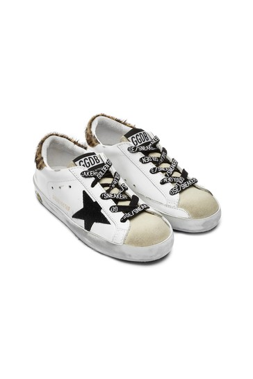 Kids White Leather Trainers