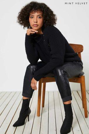 Mint Velvet Black Sequin Trousers