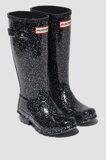 Girls Black Glitter Classic Wellington Boots