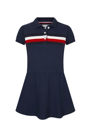 네이비 코튼 드레스