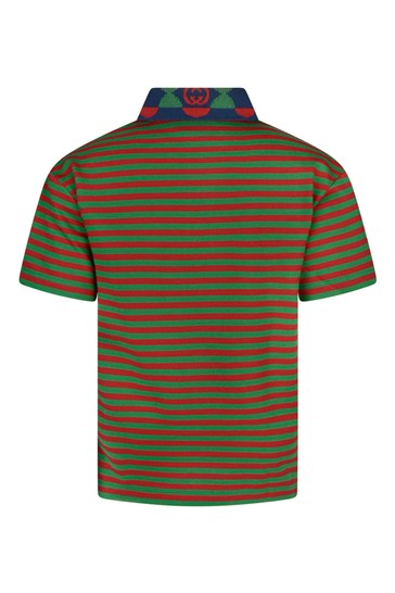 Boys Green and Red Striped Polo Top