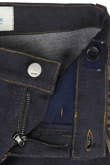 Kids Blue Denim Logo Trim Jeans
