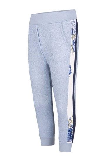Girls Blue Glittery Rose Joggers