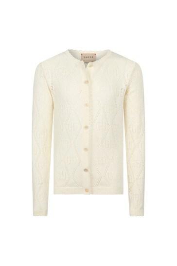 Girls White Cotton Cardigan