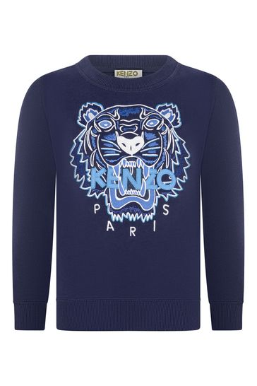 Boys Navy Blue Cotton Tiger Sweater