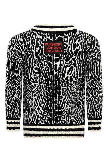 Boys Beige Check & Leopard Wool Jumper