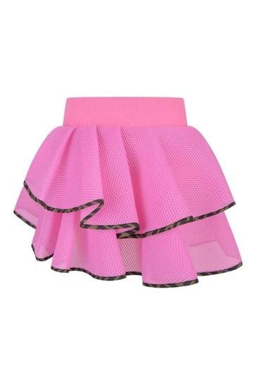 Girls Black Mesh Ruffle Skirt