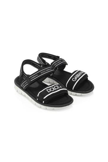 Boys Black Leather Sandals