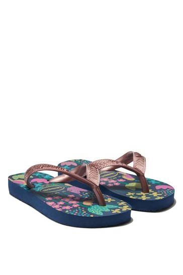Girls Blue Floral Flip Flops