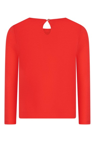 Girls Orange Jersey Bow T-Shirt
