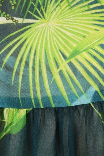 Girls Green Silk Jungle Print Dress