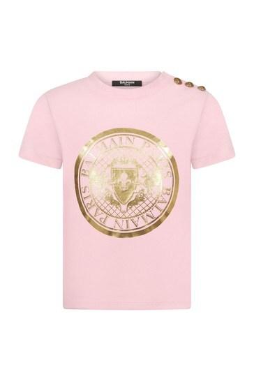 걸스 핑크 코튼 티셔츠