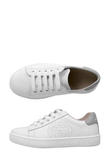 White Leather New Ace Lace Up Trainers