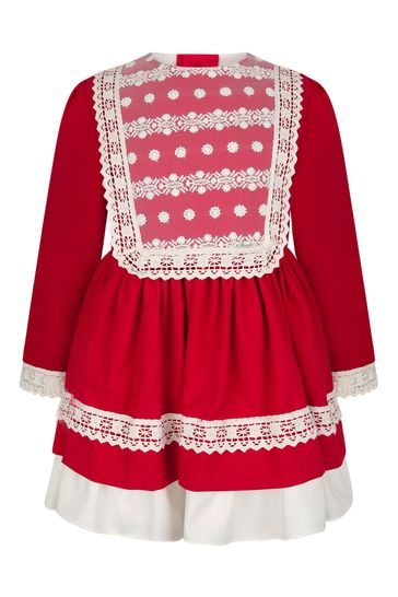 Girls Red/Ivory Lace Trim Dress
