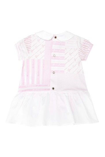Baby Girls White Cotton Bodysuit Dress