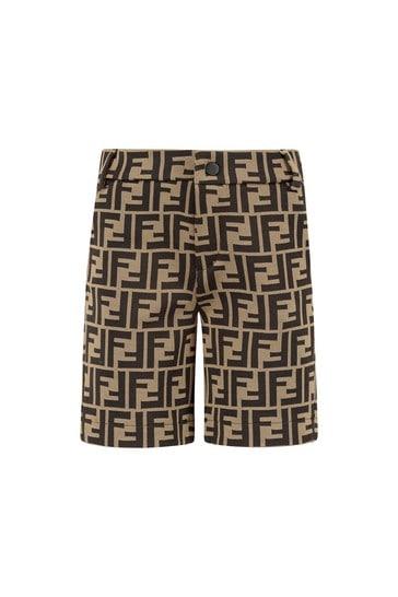 Baby Boys Brown Cotton Shorts