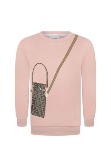 Girls Pink Cotton Bag Print Sweater