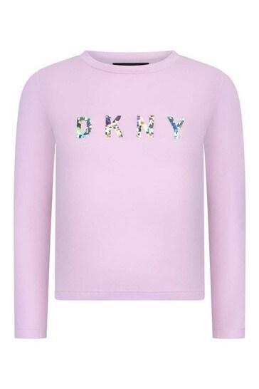 Girls Pink Cotton Long Sleeve T-Shirt