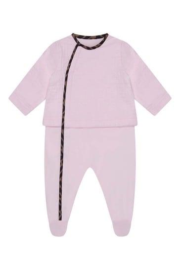 Girls Blue Cotton Logo Babygrow Gift Set