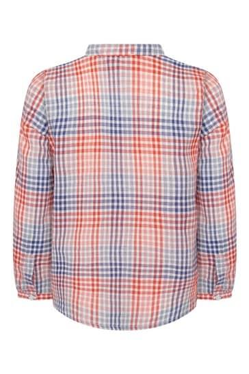 보이즈 레드 코튼 셔츠