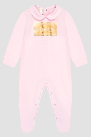 Girls Pink Logo Babygrow