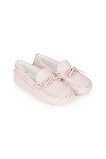 Girls Pink Leather Loafers