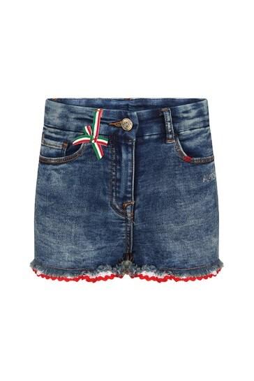 Girls Blue Cotton Shorts
