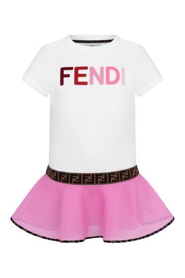 Girls White & Pink Logo Dress
