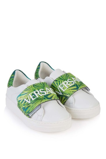 Kids White/Green Leather Trainers
