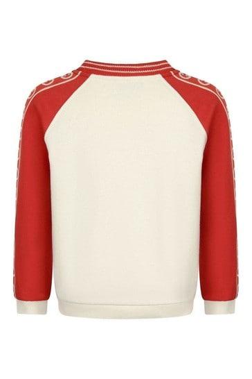 Boys Red Cotton Logo Trim Sweater