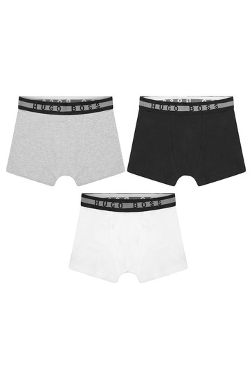 Boys Black Cotton Boxer Shorts Three Pack