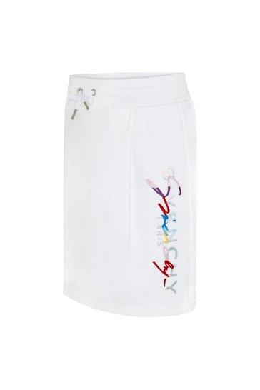 Girls White Cotton Blend Skirt