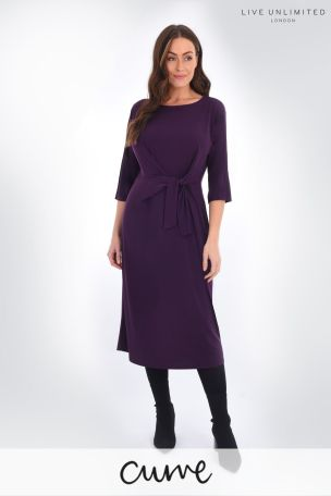 Live Unlimited Curve Burgundy Jersey Tie Waist Dress