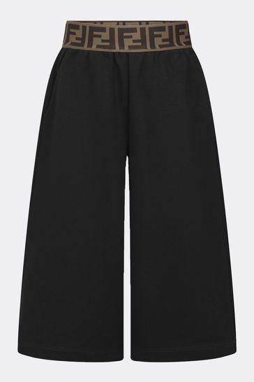 Girls Black Cotton Trousers