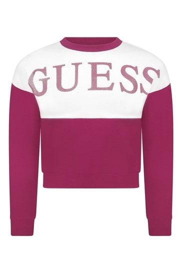 걸스 핑크 로고 스웨터