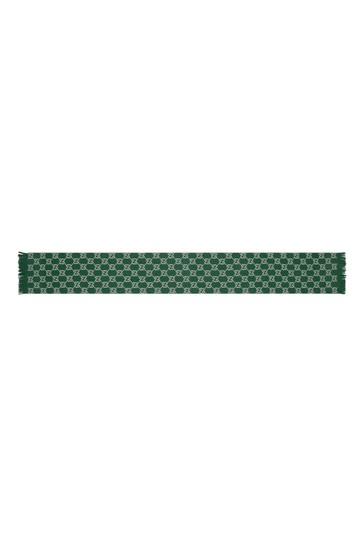 Kids Green Knitted GG Scarf