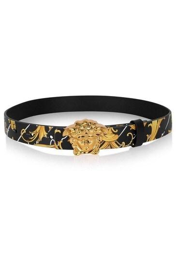 Black & Gold Baroque Leather Belt
