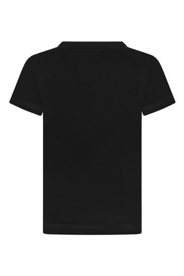베이비 보이즈 블랙 코튼 저지 티셔츠