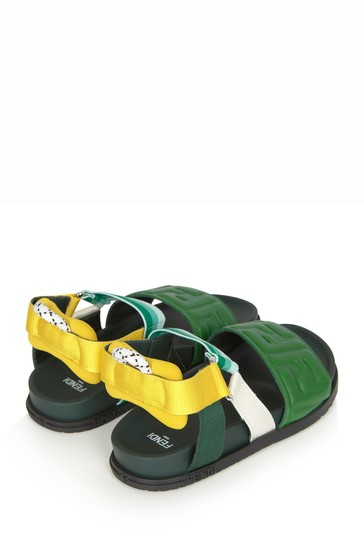 Kids Green Leather Sandals