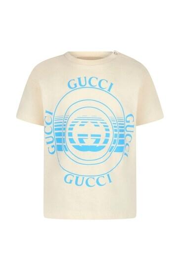 Baby Boys Cream Cotton T-Shirt