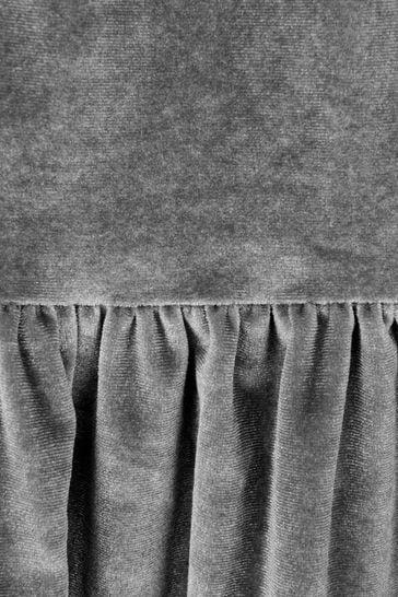 Girls Grey Velour Dress