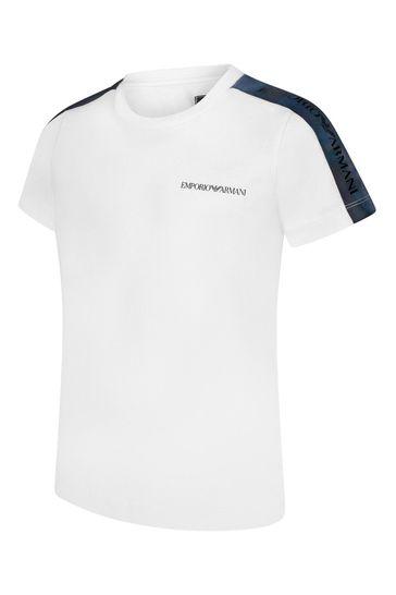 보이즈 코튼 저지 로고 트리밍 티셔츠