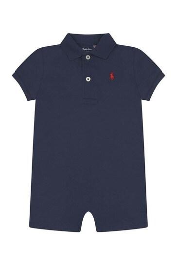 Baby Boys Navy Blue Polo Shortie