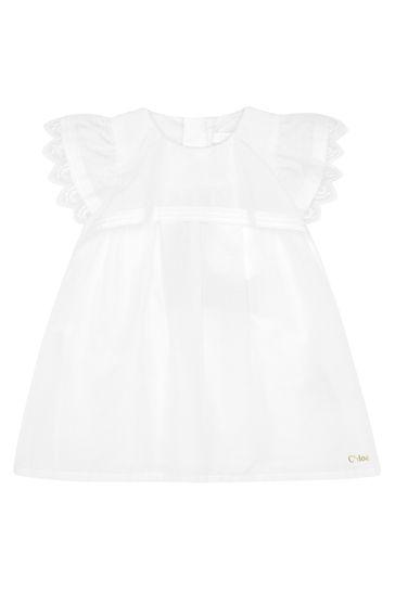 걸스 화이트 코튼 드레스