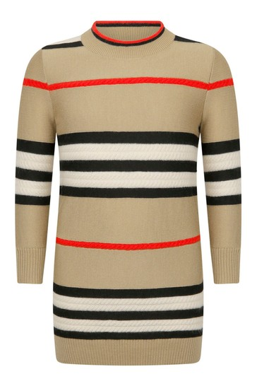 Girls Beige Check Wool & Cashmere Dress