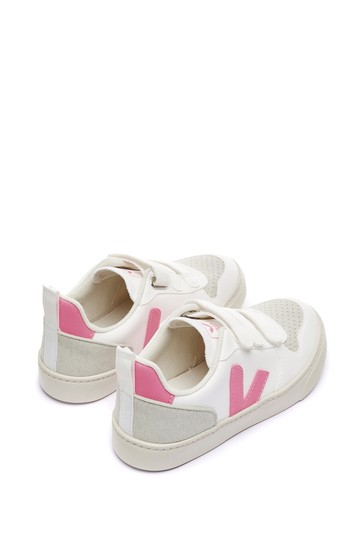 Girls White/Pink V-10 Velcro Trainers