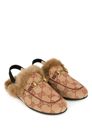 Red GG Canvas Princetown Slippers With Faux Fur